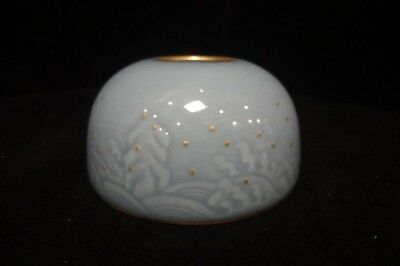 "Rare Antique Chinese Blue Glaze Porcelain Brush Washer Marked ""QianLong"""