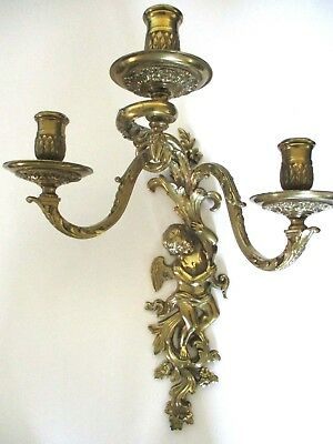 Vintage Brass Figural Wall Sconce Cherub 3 Candle Holder