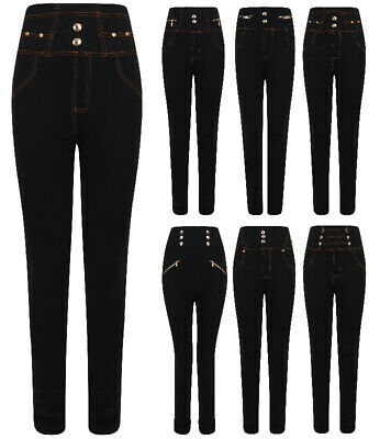 Ladies Girls High Waist Stretch Leggings Jeggings Trousers One Size Jeans Womens