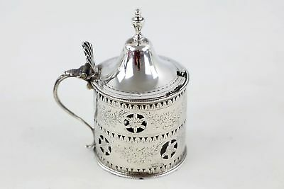 Antique 1867 Hallmarked London Solid Silver Mustard Pot w/ Domed Cover (95g)