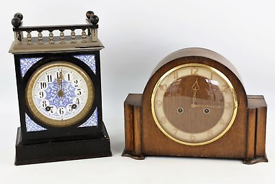2 x Antique / Vintage Wooden Mantel CLOCKS Key-Wind Inc. Victorian Ebonised