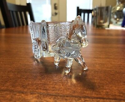 Vintage Clear Glass Horse Pulling Cart Figurine ... Trinket holder ... Planter