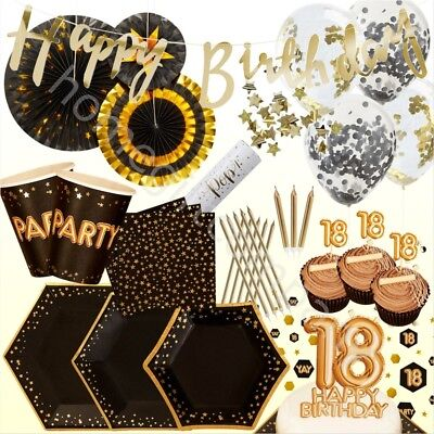 Black Gold Foil 18th Birthday Party Supplies Disposable Tableware Decorations