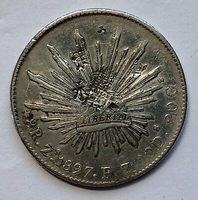 Mexico 1897 ZS FZ Reales Silver Coin With Chopmarks