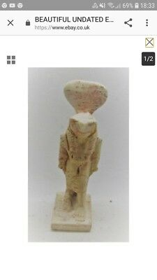 Undated Ancient Egyptian Stone Statuette  With Hieroglyphics