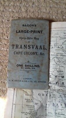 Bacon's,large print map transvaal,south africa,circa 1900