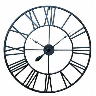 80cm Large Huge Wrought Iron Roman Numerals Wall Clock Art Deco Metal