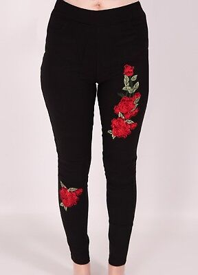 Stretch Leggings Thermal Jeggings Ladies Fleece Lined Floral Rose Trousers New