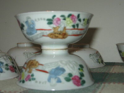 Set of 5+5=10 Vintage Asian Porcelain Tea Cups Hand Painted Scene GOLD Butterfly