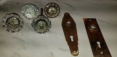Vintage antique 12 point glass door knobs lot-4 knobs, 2 backplates salvage