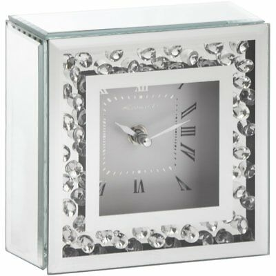 Silver Sparkle Floating Crystal Mirror Frame Square Mantel Clock Bling