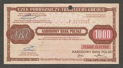 Poland Travellers Check 1,000 Zlotych (1990); AU+; Issued in Bulgaria
