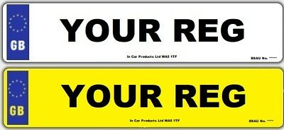 Pair Standard MOT UK Road Legal Car Van Reg Registration Number Plates & Fixing