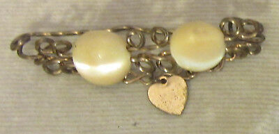 19C Victorian antique goldfilled GF WIREWORK & MOTHER OF PEARL PIN dangly heart
