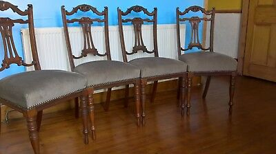 edwardian,walnut,dining chairs,padded seats, fabric,dining,four,antique, approx.