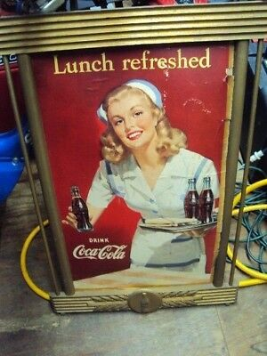 Vintage Drink Coca-Cola Cardboard Advertising Sign Kay Display Frame Picture
