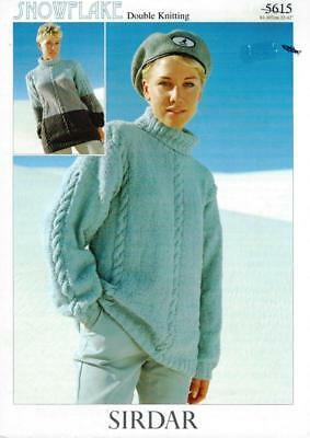 "SI5615 LADIES  DK CABLED SWEATER KNITTING PATTERN 32-42""/81-107cm"