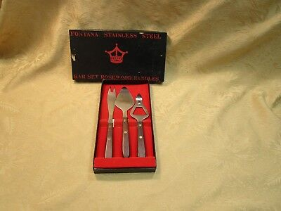 Vintage 3 Piece Bar Set-Fontana Stainless Steel