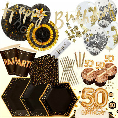 Black Gold Foil 50th Birthday Party Supplies Disposable Tableware Decorations