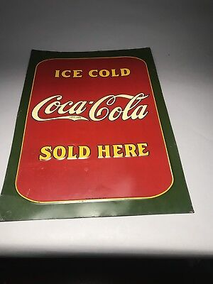 "Stunning 1931 Coca Cola Tin Embossed Sign 20"" X 28"" Ice Cold Sold Here"