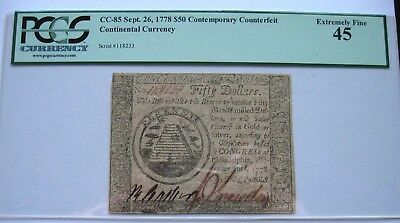 $50 Continental Currency  Sept 26, 1778 Contemporary Counterfeit PCGS EF45