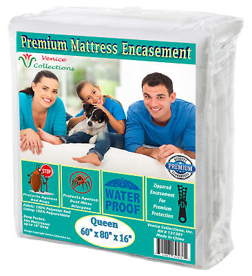 Premium Waterproof Mattress protector 150 GSM Fabric Zippered encasement Cover
