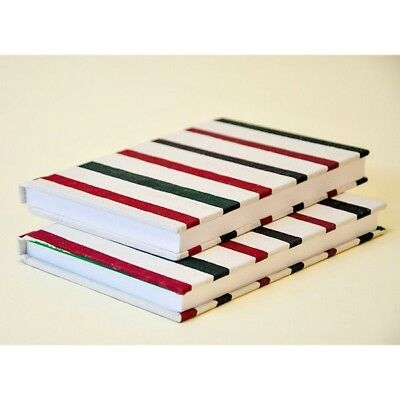 Hardcover Notebook A5 55 Sheets with Red and Green Stripes Pattern