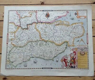 Saxons Map Of Kent, Sussex And Middlesex 1575