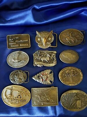 Vintage Belt Buckles Brass Metal Belt Buckle Lot of 12 Siskiyou Arroyo & MORE!
