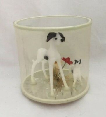 Vintage Blown Glass Miniature DOG FIGURINES in Plastic Case Mirror Base