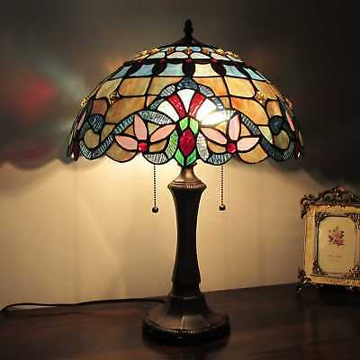 """Tiffany Style Table Lamp Victorian Design Blue Amber Red Stained Glass 22 """" High"""