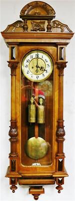 Antique 8 Day 2 Weight Carved Walnut gustav Becker Vienna Regulator Wall Clock