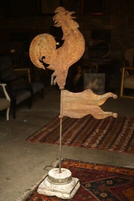 Early 20th century French cockerel weathervane with wind flag