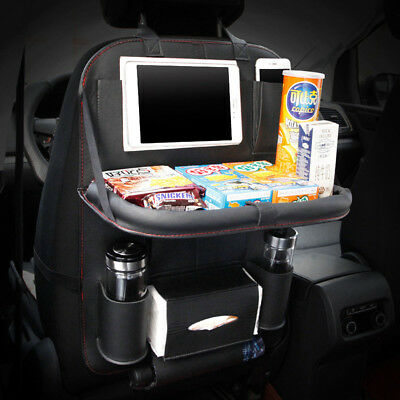 Leather Car Seat Back Organiser Storage Bag with Tray Foldable Table Cup Holder