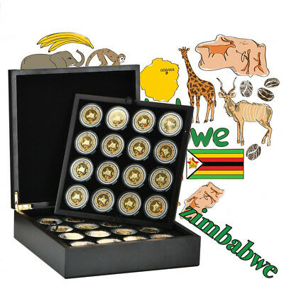 WR 2008 64PCS Zimbabwe 100 Trillion Dollars Coin Wooden Box Limited Edition Gift