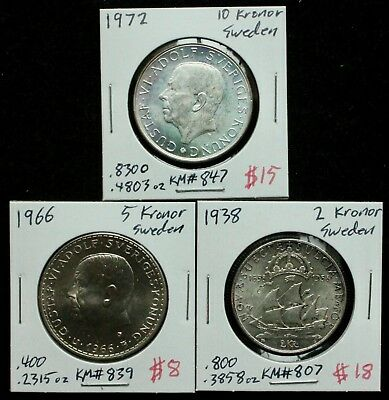 SWEDEN Silver Coin Lot: Collection of 3 Old Swedish Silver Coins