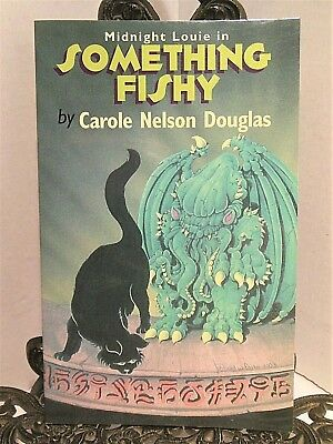 SIGNED NUMBERED Midnight Louie Something Fishy Carole Nelson Douglas Black Cat