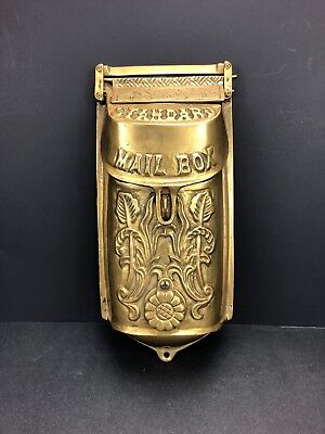 Vintage Solid Brass Standard Mailbox Wall Mount Heavy Victorian Style Ornate