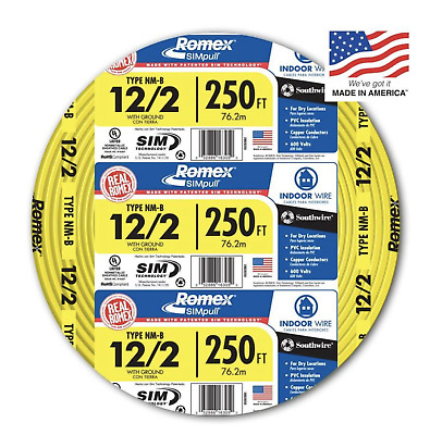 Southwire Romex 250' 12-2 WG Non-Metallic Cable Copper Electrical Wire NM-B 12/2
