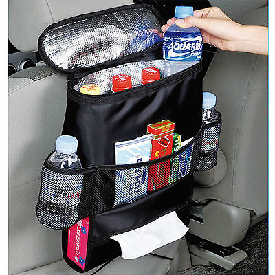 In Car Travel Organiser Seat Back Drinks Holder Storage Bag Tidy Cool bag kids