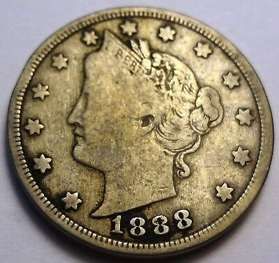 1888 Liberty V Nickel 5c - Tough Date - Strong Full Rims and L BERTY, Nice!