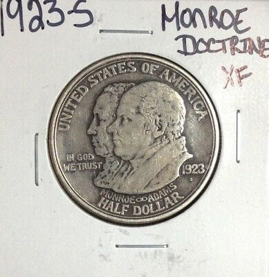 1923-S Monroe Doctrine Commemorative Silver Half Dollar ~ Xf Nice Coin