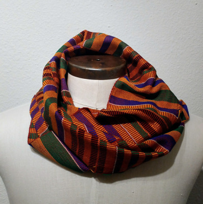 African Kente Scarf, Authentic Ghana Cloth, Multicolor, Wrap Around Infinity