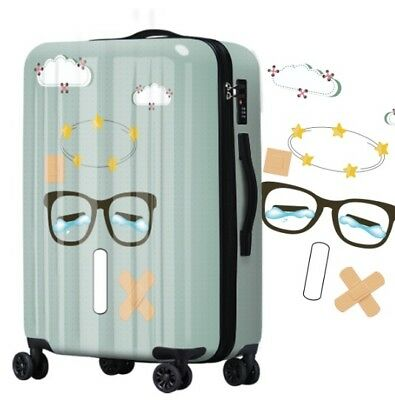 D696 Lock Universal Wheel Cartoon Glasses Travel Suitcase Luggage 24 Inches W