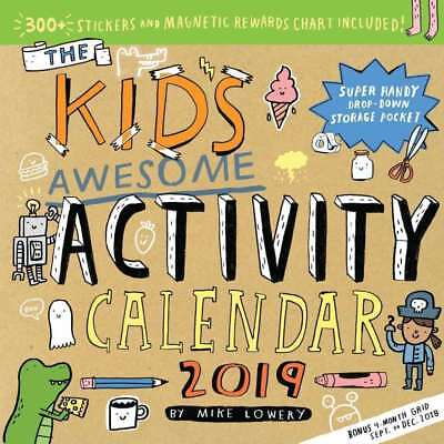 Kids Awesome Activity 2019 Square Wall Calendar by Mike Lowery 9781523503711 NEW