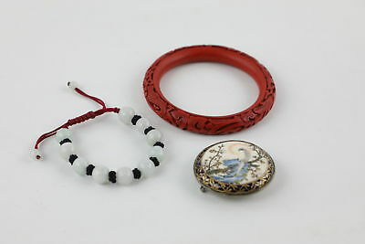 3 VINTAGE CHINESE JEWELLERY inc. Carved Cinnabar Bangle & Hand Painted Buckle