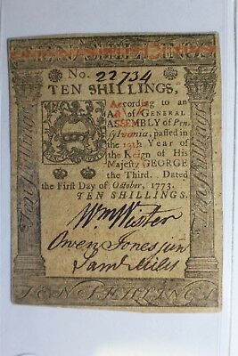 Colonial US Currency Ten Shillings Hall & Sellers 1773 Note