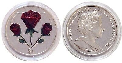 2015 British Virgin Islands 1-oz Clad Colorized Heart of Roses Coin
