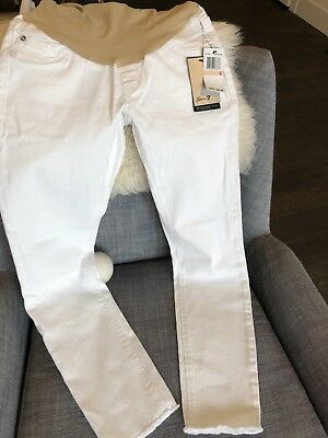 Seven for All Mankind White Over-the-Belly Fray-Hem Skinny Maternity Jeans Sz. 2