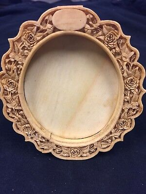 Picture Frame Carved Bone Oval Ornate Antique Original 1800's